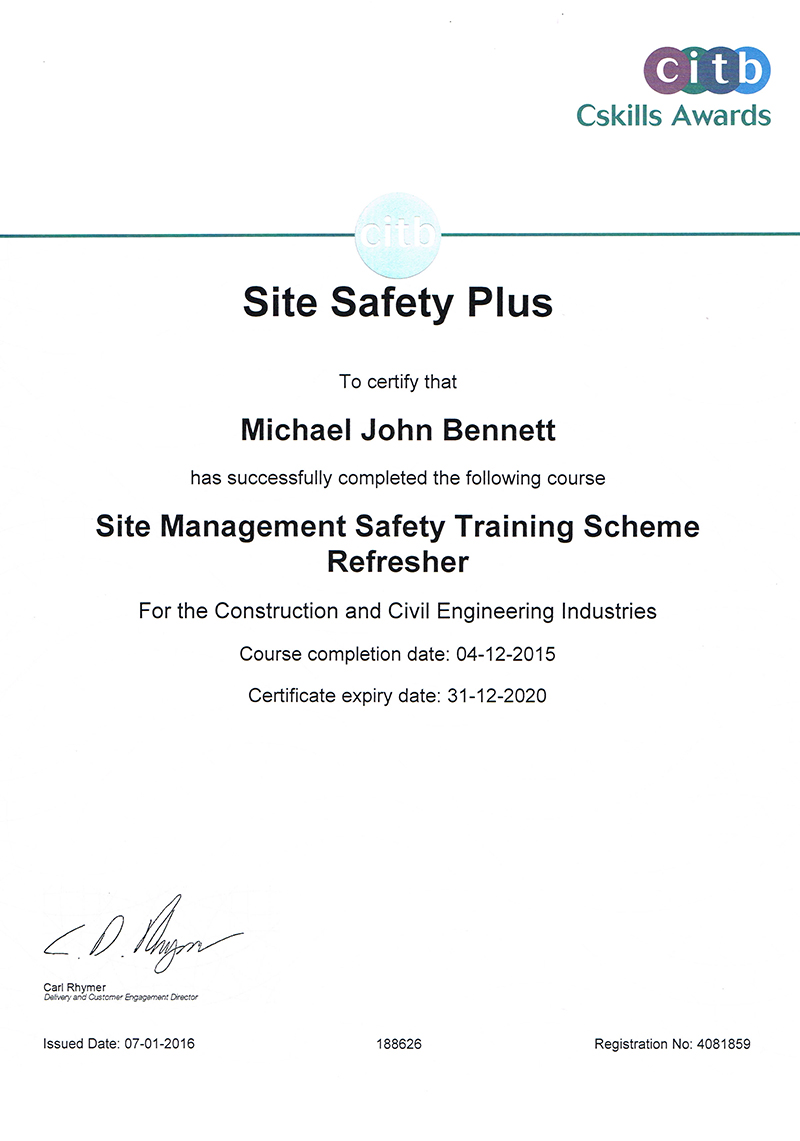 Site Management Safety Training Certificate