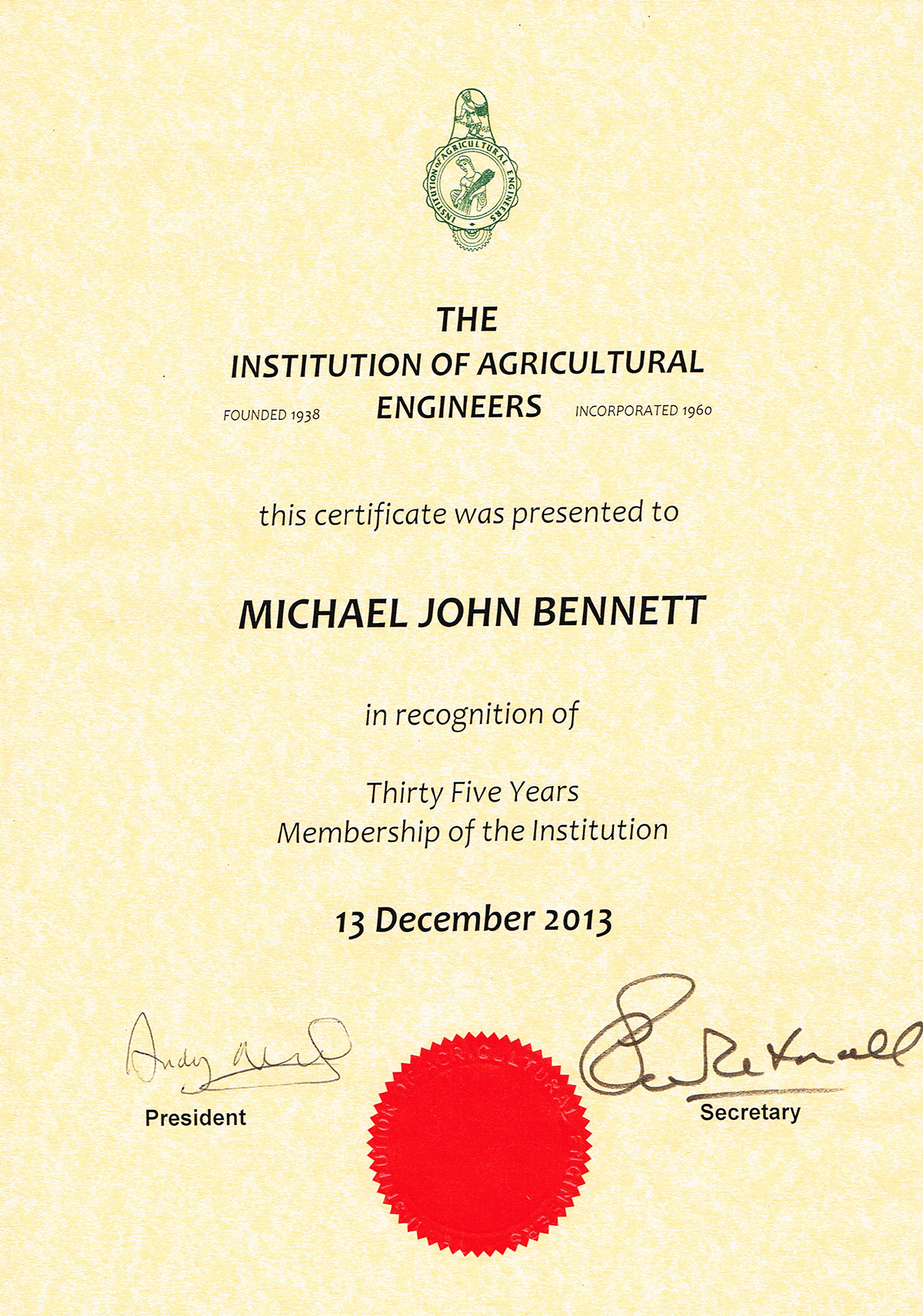 Institution of Agricultural Engineers 35 year certificate
